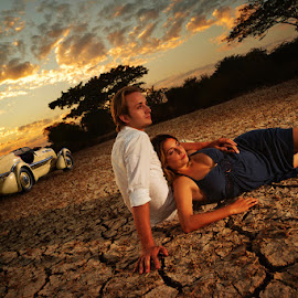 by Joe Bowers - People Couples ( car, desert, sunset, couple, engagement, relax, tranquil, relaxing, tranquility )