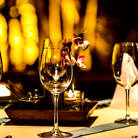 The dinner table by Bharath Pasupuleti - Artistic Objects Glass ( dinner, wine, glass, table, restaurant )