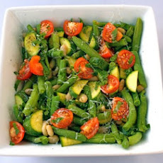 White Bean Salad with Zucchini, Green Beans, and Tomatoes
