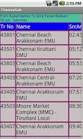 Screenshot of Chennai Suburban trains