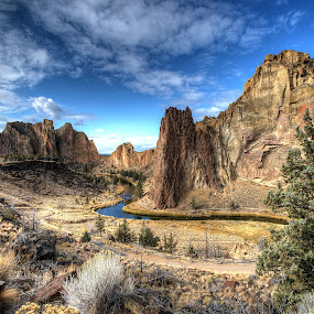 Smith Rock - Central Oregon by Gary Piazza - Landscapes Mountains & Hills ( hills, mountains, terrabonne, smith rock, central oregon, postcard, river, , relax, tranquil, relaxing, tranquility )