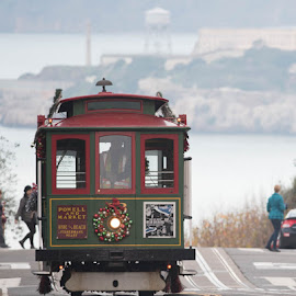 San Francisco Holiday Cable Car  by Curley Reed - Transportation Other ( holiday, public transportation, cable car, christmas, hyde street, alcatraz, san francisco )