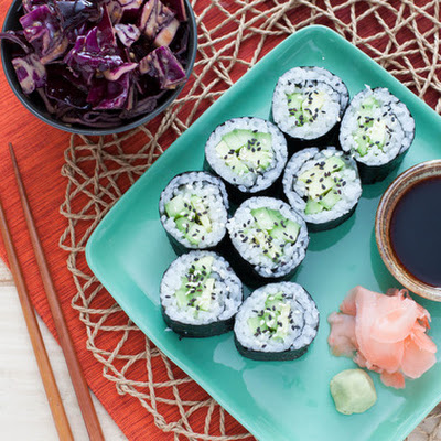 Cucumber-Avocado Maki with Red Cabbage-Miso Slaw