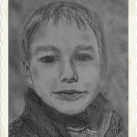 Leo flash-back to 2011, Little Lord Leo. I think I made his mouth a little big, but I just loved his expression in the photo I took.  :^) by Theresa Campbell - Drawing All Drawing