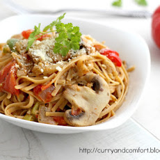 Vegetarian Mushroom Eggplant and Pepper Pasta