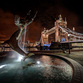 Girl with Dolphin by Tim Grist - City,  Street & Park  Fountains ( london, fountain, tower bridge, girl with dolphin, night, city )