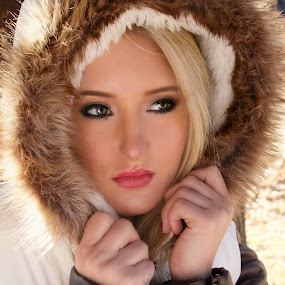 by Kathy Suttles - People Portraits of Women ( grey eyes, oklahoma, teen, beauty, young, suttleimpressions, blonde, winter, girl, cold, woman, fur, pout, serious, hood,  )