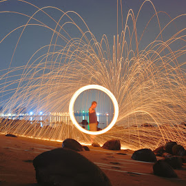 by Steven Hee - Abstract Light Painting ( firedance, night, fire, man )