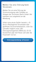 Screenshot of Stromnetz Berlin StörMeldung
