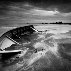 The End by Amizan Amran - Landscapes Beaches ( black and white, landscape photography, seascape, boat, black )