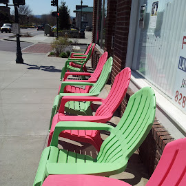 Sherbet Colored Chairs by Anne Johnson - City,  Street & Park  Street Scenes ( chairs, street, town, sidewalk, city )