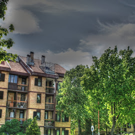Building by Jovana Vlajković - Buildings & Architecture Homes ( clouds, home, building, tree, hdr, exterior, yellow, place )
