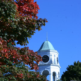 Westbrook Church in Fall Colors by Tara Tarvin - Landscapes Travel ( fall colors, westbrook ct, fall, color, colorful, nature )