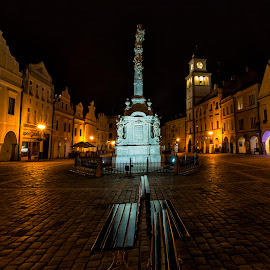 Nightscapes at the Czech Republic by Rafael Uy - City,  Street & Park  Neighborhoods ( benches, czech, czech republic, long exposure, nightscape, public, bench, furniture, object )
