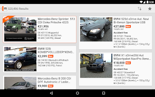 Screenshot of mobile.de – vehicle market