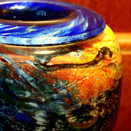 by John Hale - Artistic Objects Glass ( blue, orange, color )