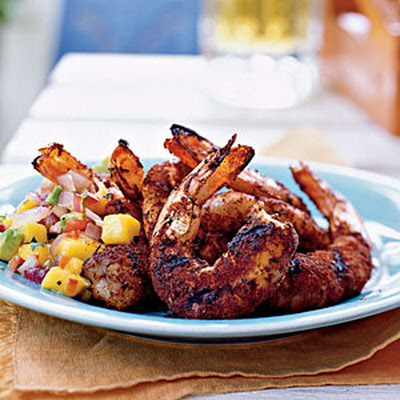 Jerk Shrimp with Grilled Onion, Avocado, and Mango Salsa