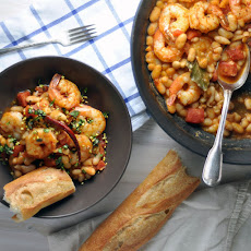 Chile-Spiked Shrimp and Beans with Basil and Pistachios