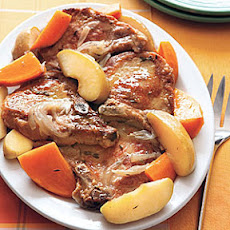 Braised Pork Chops with Sweet Potatoes and Apples