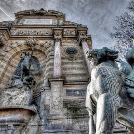 st michel statue by Ben Hodges - Buildings & Architecture Statues & Monuments ( paris, europe, hdr, dragon, france, st michel )