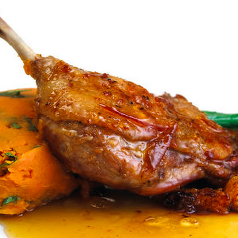 Honey Duck legs with marmalade syrup and sweet potato mash.