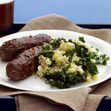 Paprika Sausages with Kale Mashed Potatoes