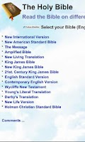 Screenshot of Popular Bibles in English