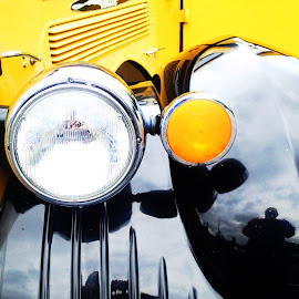White Touring Car Front Fender by Donald Henninger - Novices Only Objects & Still Life ( detail, fender, still life, automobile, yellowstone national park, headlight, nostalgia, tourism, front, transportation, yellow, black )
