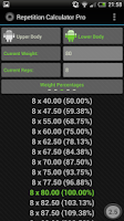 Screenshot of Rep Calc Pro (1 Rep Max)