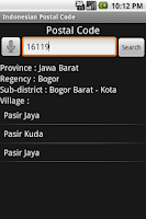 Screenshot of Indonesian Postal Code