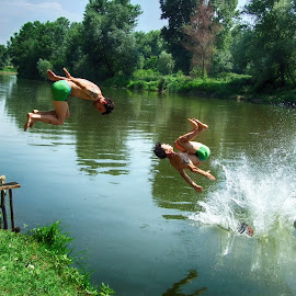 Jump in the river by Maja  Marjanovic - Sports & Fitness Swimming ( nature, sport, swimming, river, jump )