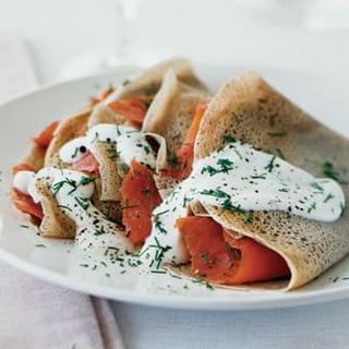 Buckwheat Crepes with Smoked Salmon and Crème Fraîche