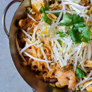 Hot Shrimp Noodles with Poached Eggs