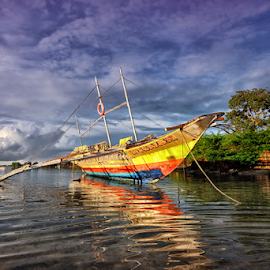 Fishing Boat by Ferdinand Ludo - Transportation Boats ( mactan island channel, fishermen, small boat, cordoba )