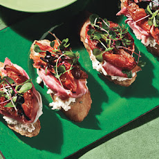 Bruschetta with Rosemary, Roasted Plum Tomatoes, Ricotta and Prosciutto