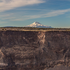 The Cove Palisades State Park to Mt Jefferson by Andy Vic Lindblom - Landscapes Mountains & Hills ( clouds, sky, mt jefferson, cliff, rock, lake )