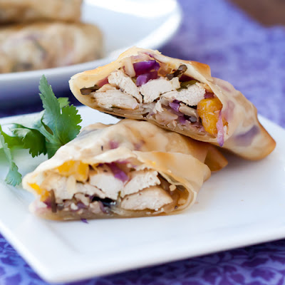 Chicken Egg Rolls with Red Cabbage, Mango & Lime
