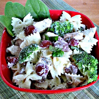 Broccoli Grape Pasta Salad with Grilled Chicken