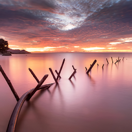 Crossing by Catur G Prakasa - Landscapes Sunsets & Sunrises ( sunset, seascape, beach, landscapes, landscape,  )