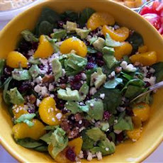 Cranberry, Glazed Walnut, Orange, Avocado, and Blue Cheese Salad