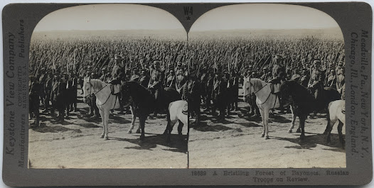 Stereograph of Russian troops being reviewed