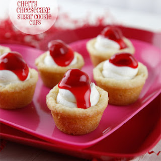 Mini Cherry Cheesecake Sugar Cookie Cups