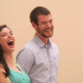 Starting to Laugh by Titus Belgard - People Couples ( nurse, bridal shower, laughter, engaged couple )