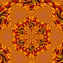 BRIK 3 by Tina Dare - Illustration Abstract & Patterns ( abstract, kaleidoscope, patterns, designs, distorted, oranges, golds, shapes )