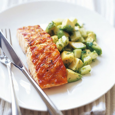 Char Grilled Salmon With Avocado, Cucumber And Dill Salad