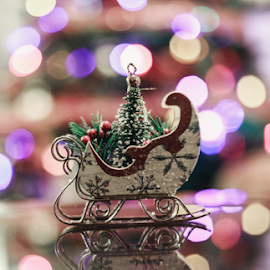 Santa's Sleigh by Leah Varney - Artistic Objects Other Objects ( holiday, colorful, decoration, christmas lights, bokeh,  )