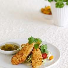 Pretzel Chicken Tenders with Green Tomato Sauce