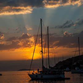 by Rino Filipovic Grcic - Landscapes Sunsets & Sunrises ( clouds, summer, sea, boat, sun )
