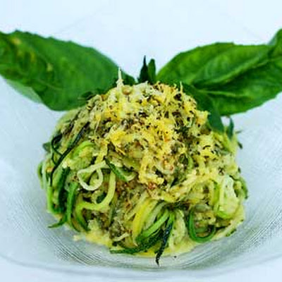 Gluten Free Julienned Zucchini with Lemon Pesto