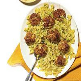 Pork, Apple and Cheddar Meatballs with Egg Noodles